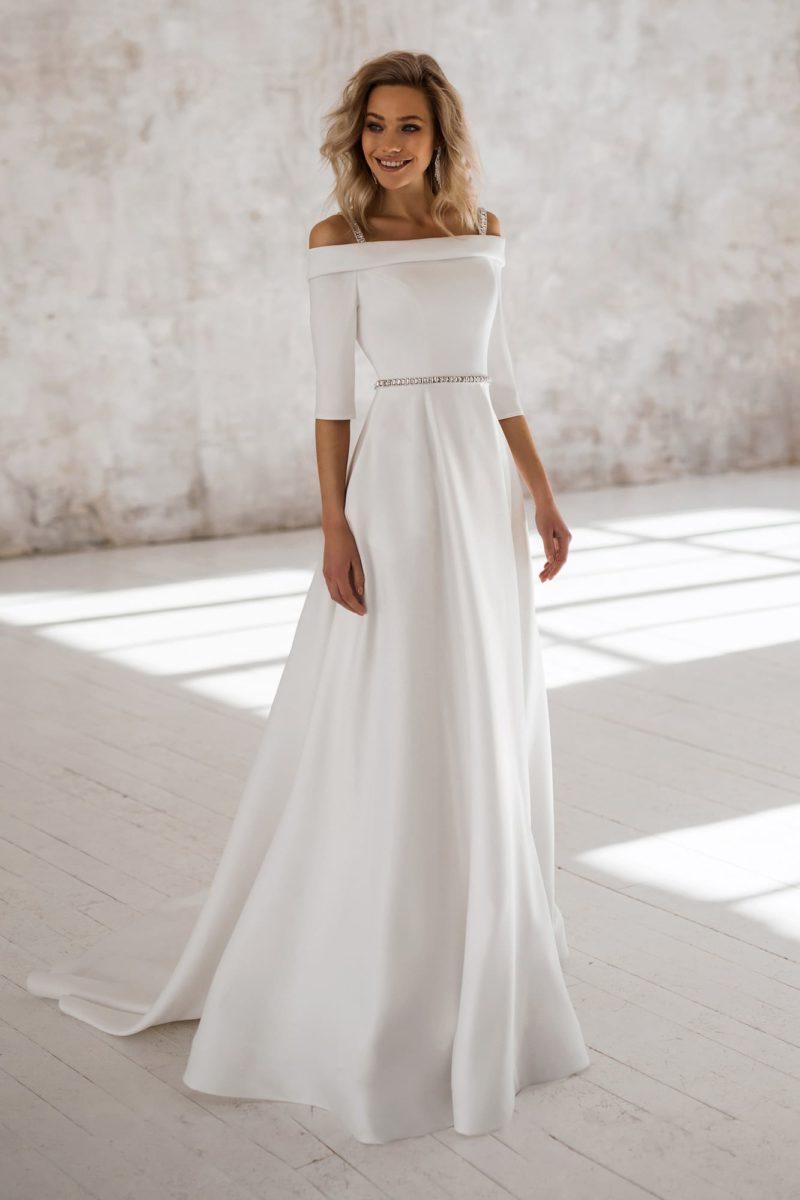 Строгое и элегантное свадебное платье