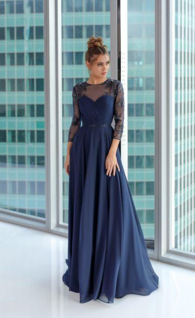 Вечернее платье в пол из шифона