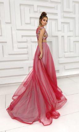 Вечернее платье кроп-топ в розовых оттенках