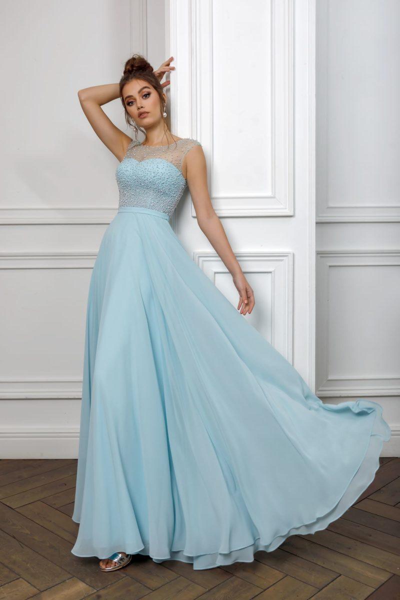 Вечернее платье мятного оттенка