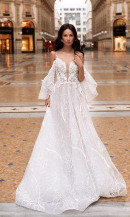 Свадебное платье светлого оттенка айвори
