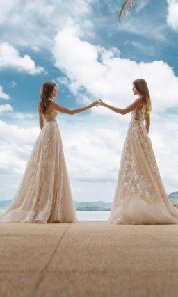 Летнее свадебное платье с открытым верхом