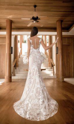 Ажурное платье «русалка» пудрового оттенка
