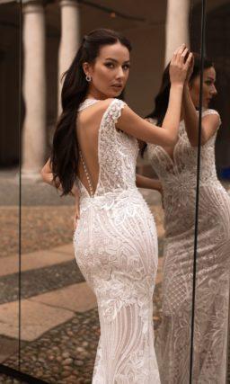 Свадебное платье годе пудрового цвета