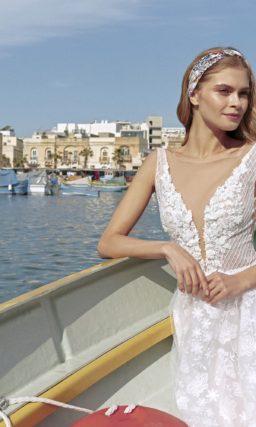 Легкое летнее свадебное платье с открытой спиной