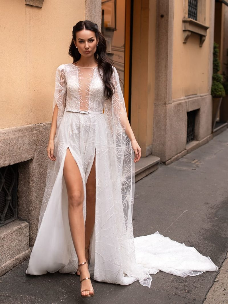 Свадебное платье с оригинальными рукавами