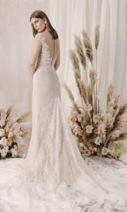 свадебное платье силуэта «русалка» из гипюра