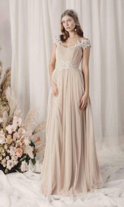 Легкое свадебное платье цвета айвори в греческом стиле