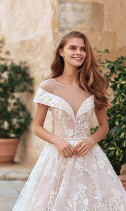 Женственное свадебное платье пудрового цвета