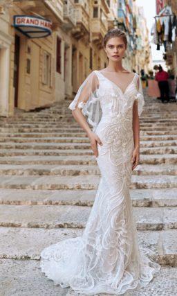 Кружевное свадебное платье-русалка оттенка айвори