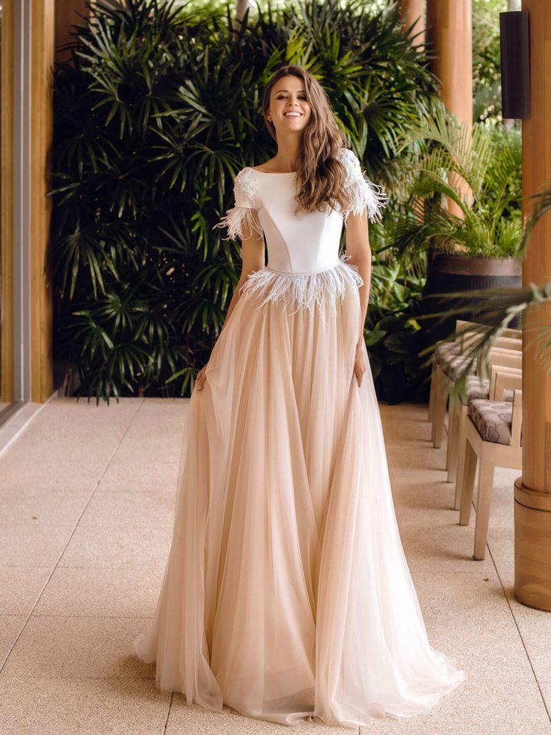 Оригинальное двухцветное свадебное платье