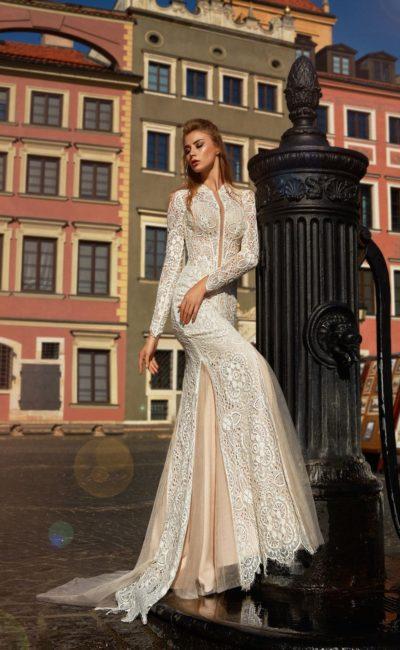 Свадебное платье с рукавом вязанное
