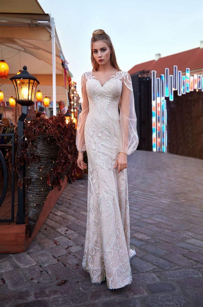 Свадебное платье годе оттенка айвори