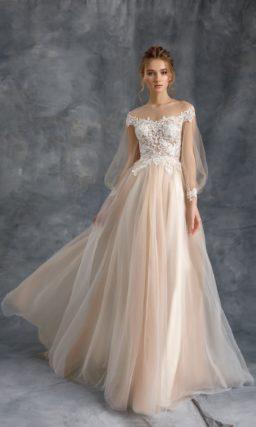 Свадебное платье с пышной юбкой и ажурным верхом