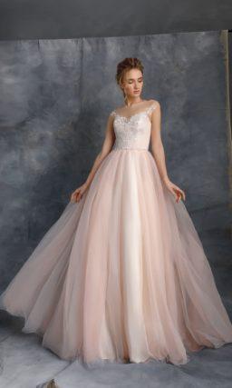 свадебное платье с пышной юбкой пудрово-розового оттенка