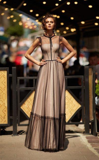 платье с эффектом nude из черного фатина
