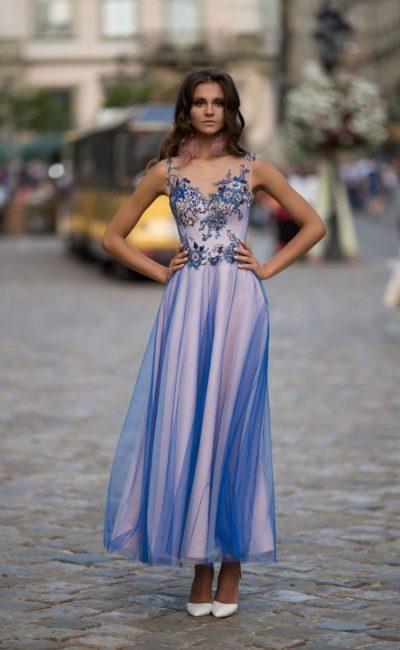 вечернее платье с юбкой по щиколотку