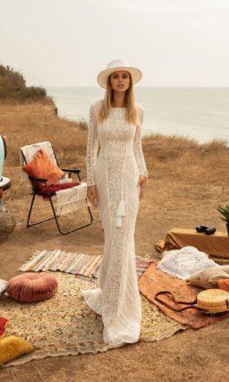 свадебное платье русалка из кружева цвета айвори