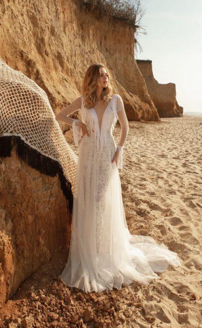 Свадебное платье бохо с длинной бахромой