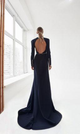 Темно-синее свадебное платье