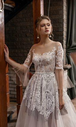 Свадебное платье с прозрачной пышной юбкой