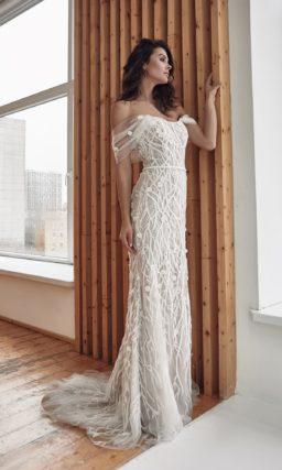 платье силуэта русалка из кружева и фатина