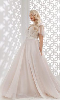 свадебное платье пудрово-розового оттенка