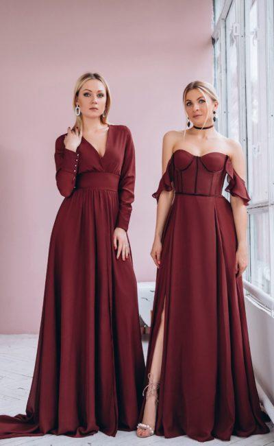 Длинное вечернее платье в оттенке марсала