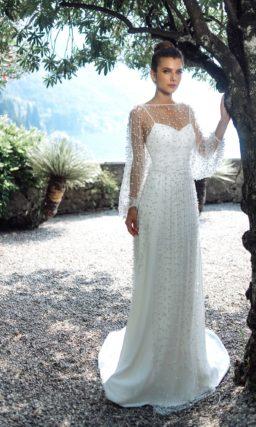 Белое свадебное платье прямого кроя