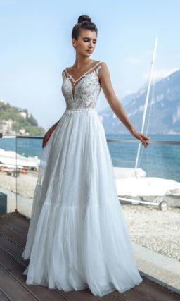 Летнее кружевное свадебное платье