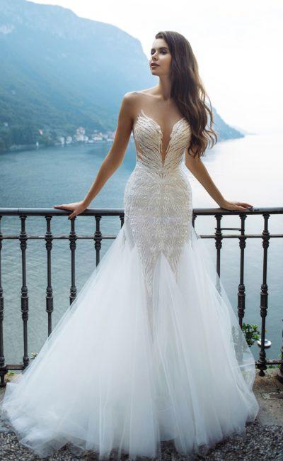 Свадебное дизайнерское платье русалка