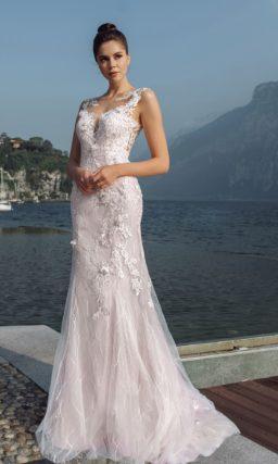 Свадебное платье рыбка пепельно-розового оттенка