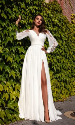 свадебное платье в греческом стиле с длинными рукавами
