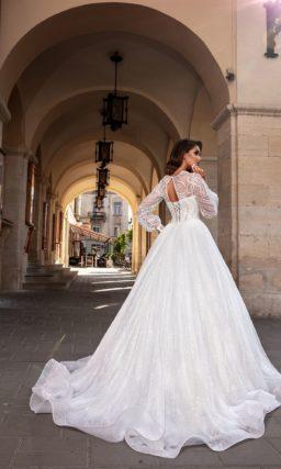 свадебное платье с прозрачным рукавом пышное