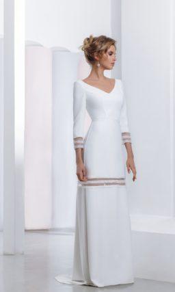 Минималистичное свадебное платье с длинными рукавами