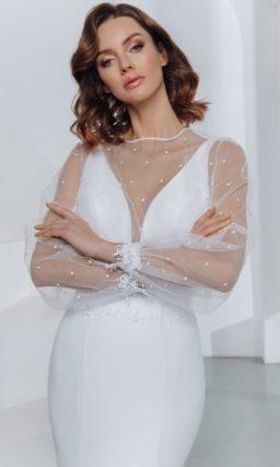 Свадебное платье силуэта рыбка со сдержанным дизайном