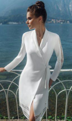 свадебное платье-халат с длинными рукавами