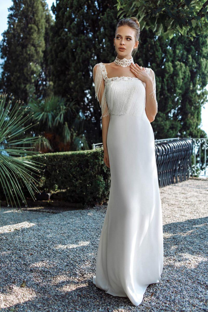Свадебное платье прямого кроя в стиле ретро