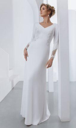свадебное платье прямого кроя с длинными рукавами