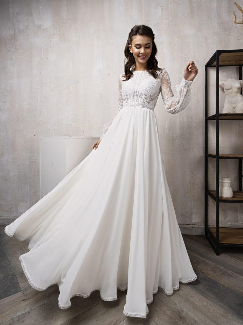 Венчальное скромное платье с рукавом