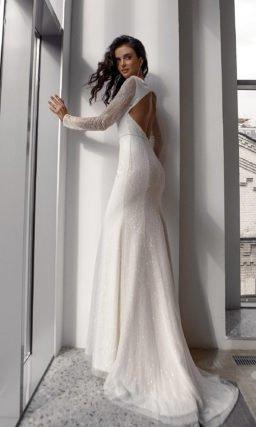Свадебное платье с блестками силуэта русалка
