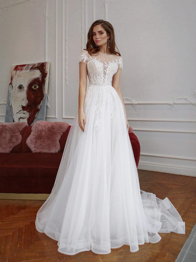 Свадебное платье с верхом в нюдовом стиле