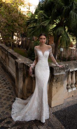Свадебное платье «рыбка» с рукавами