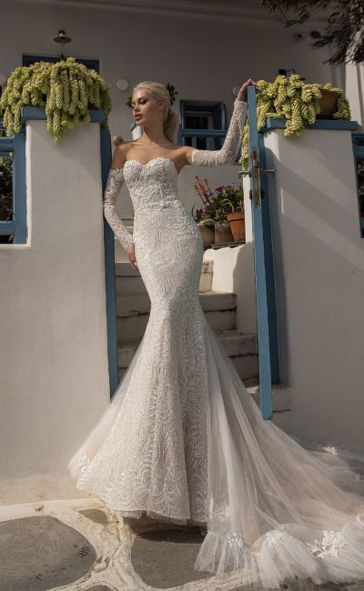 Свадебное платье рыбка со съемными рукавами