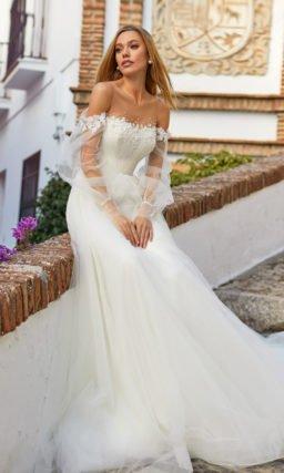Свадебное платье молочного оттенка
