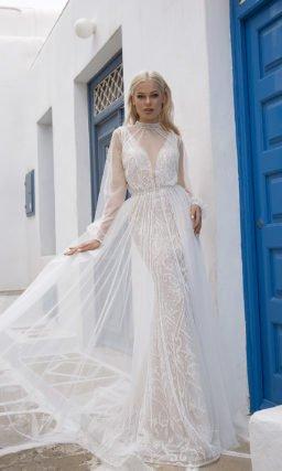 Платье рыбка со шлейфом свадебное