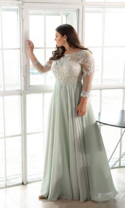 свадебное платье мятного оттенка