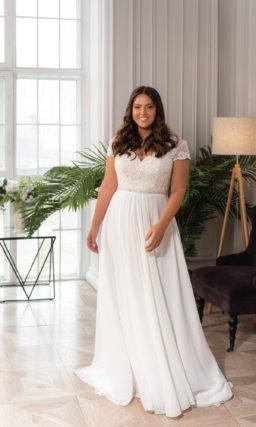 Свадебное платье большого размера с короткими рукавами