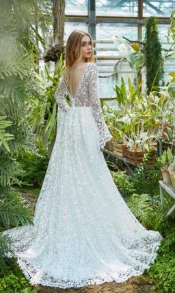 Кружевное вязаное свадебное платье