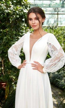 Свадебное платье с пышными длинными рукавами